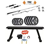 TTC Fitness Home Gym Combo (40 Kg Handle Provison Cast Iron Weight Plates + Flat Bench ,Dumbbell Rod pair ,2 Rods , Accessories)