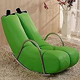 Dngy*Creative único sofá independiente solo banano sillón reclinable yoyos personalidad asiento encantador estilo europeo moderno , pequeño sofá de cuero verde -