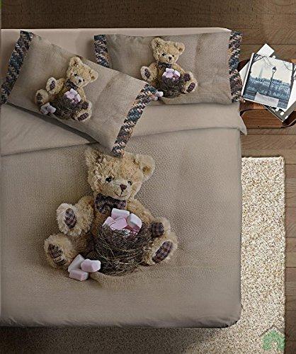 Ipersan Funny Bear Fine-Art Parure Copripiumino Fotografico, Piazzato, Cotone, Beige/Marrone, Matrimoniale