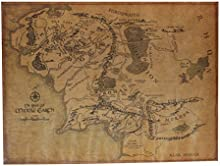 [Envio Gratis] BML© El señor del anillo de tierra media mapa retro cartel de papel kraft // The Lord Of The Ring Middle Earth Map Retro Kraft Paper Poster