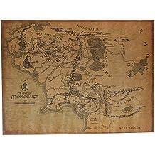 Bluelover El Señor de lo anillo tierra media mapa Retro Kraft papel afiche