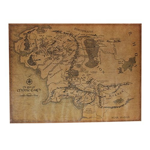 Preisvergleich Produktbild [ Kostenlose Lieferung - 7-12 Tage] Der Herr der Ringe Middle Earth Map Retro Packpapier Plakat BML® // The Lord Of The Ring Middle Earth Map Retro Kraft Paper Poster