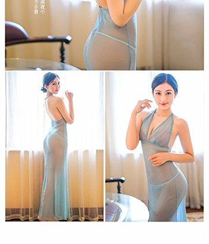 Leichte transparente Seide tiefen v-Ausschnitt rückenfreie Kleider Kleid Abendkleid Blau