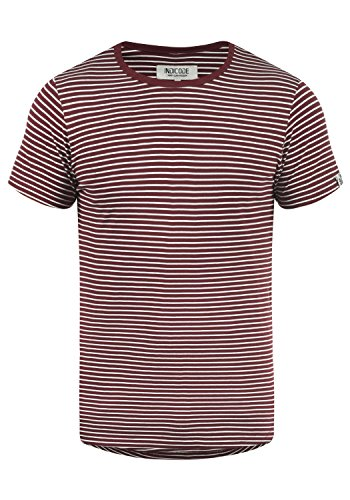 Gestreifte Kostüm Shirt Rot - Indicode Agaro Herren T-Shirt Kurzarm Shirt Mit Streifen Und Rundhalsausschnitt 100% Baumwolle, Größe:XL, Farbe:Wine (227)