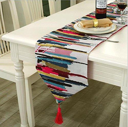 �cm Fashion Moderne Tischläufer Colorful Nylon Runner Tischdecke mit Quasten Durchbrucharbeit bestickt Tischläufer 30x220 cm 1 (Black Lace Tischläufer)