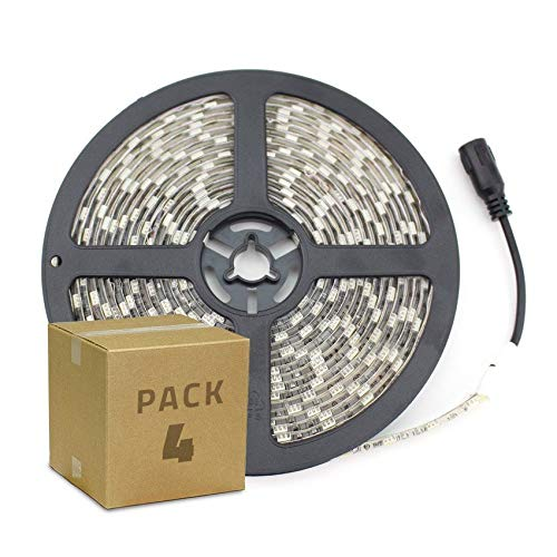 Pack Tira LED 12V DC SMD5050 60LED/m 5m IP65 (4 Un) Blanco Frío 6000K-6500K LEDKIA LIGHTING