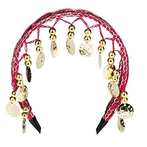 Turkish Emporium Haarreif BAUCHTANZ Diadem Kopfschmuck Hairband Belly Dance Bollywood Münzen (Rot/Gelb) (Bauchtanz Rote)