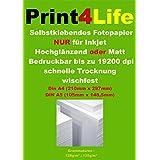 50 hojas de papel fotográfico A4 135g / m² adhesivo brillante a 19.200 dpi impermeable resistente a la luz