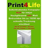 50 fogli di formato A4 adesivo fotografica opaca etichette di carta a getto d'inchiostro A4: 210mm x 297mm 128g / m²