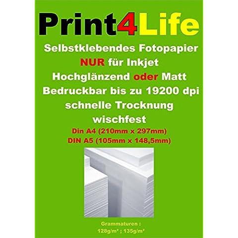 300 hojas de papel fotográfico A4 135g / m² adhesivo brillante a 19.200 dpi impermeable resistente a la