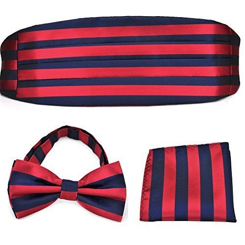 PenSee Set aus gebundener Fliege, quadratischem Einstecktuch, Kummerbund, Marineblau-Rot gestreift
