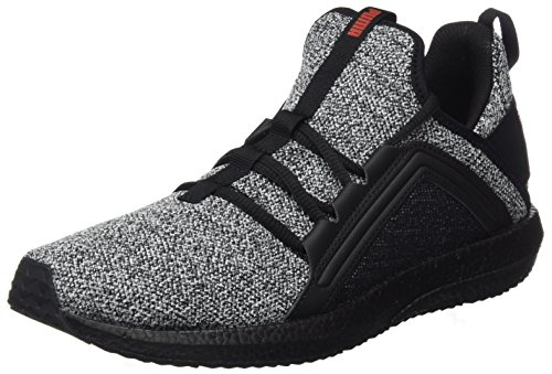 Puma Herren Mega Nrgy Knit Cross-Trainer, Schwarz Black-White-Flame Scarlet, 40.5 EU (Cross-trainer Sneaker Herren)