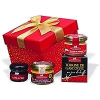"""Ducs de Gascogne - Petit cadeau gourmand""""Carré rouge"""" - comprend 1 spécialité au foie gras et 3 produits d'épicerie fine – Idéal à Noël pour 1 pers. 956761"""