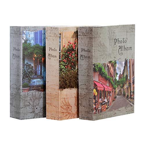 Nostalgy - Lote de 3 álbumes de fotos con fundas para 200 fotos de 10 x 15 cm por álbum, cubierta de papel impreso, 2 vistas por página, tamaño: 17 x 22,5 cm, 600 fotos para archivar con este pack