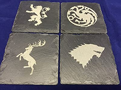 Game of Thrones inspired Stark Lannister Baratheon Targaryen slate drinks coasters set of 4