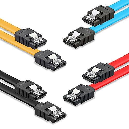 Preisvergleich Produktbild deleyCON Set - 4X [0,5m] S-ATA 3 Kabel - Premium SATA 3 HDD/SSD Datenkabel mit Clip - 2X Stecker Gerade - bis 6 Gbit/s - Länge: 50cm/Farbe: Gelb/Rot/Blau/Schwarz