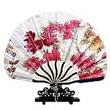 XMorning Ventaglio Elegante a Forma di Conchiglia, Stile Giapponese, Seta e bambù (Rosso Portafortuna)
