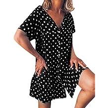 Vestido De Verano con Cuello En V Y Volantes, Manga Corta, Lunares, Estampado,