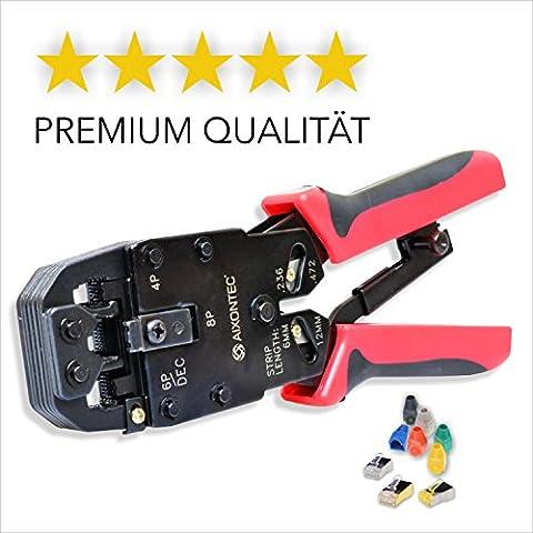 AIXONTEC® Crimpzange - Premium Qualität - Universelles Crimpwerkzeug für Modularstecker - Handkrimpzange geeignet für RJ45, RJ12, RJ11, RJ10, 4P2C, DEC - 2 JAHRE GARANTIE