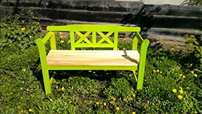 Grüne Gartenbank aus Holz, Friesenbank