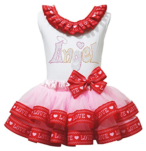Father & Mother's Day Angel White Top Pink Love Satin Trim Girl Skirt Set Nb-8y (1-3 Years) (Satin Kleid Trim, Shirt Weißen)