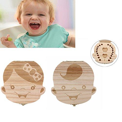 Baby Milchzahn Kasten Zahn Kästen Organisator für Baby Milch T Stücke Speichern Sie hölzerne Aufbewahrungsbehälter für Kinder Junge u. Mädchen B