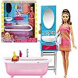 Barbie - Muebles de Baño - Bañera y Lavabo con Accesorios y Muñeca