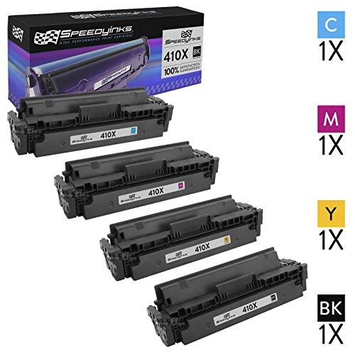 4 X Neue Toner (Speedyinks™ Neue Version Ersatz für HP 410X 4er setHohe Ergiebigkeit Toner Patronen 1CF410X schwarz 1CF411X Cyan 1CF413X Magenta 1CF412X gelb für Farbe LaserJet Druckern m377dw, m477fdw, m477fnw)