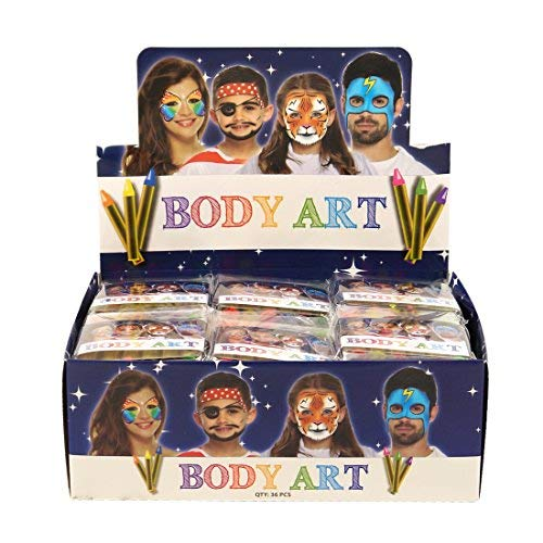 6 x NEON Face & Body Art Kreiden/Farben, Pack of 36