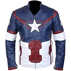 Leatherly Chaqueta de hombre Avengers Age Of Ultron Captain America CHRIS EVAN'S Auténtico Cuero Chaqueta- XS