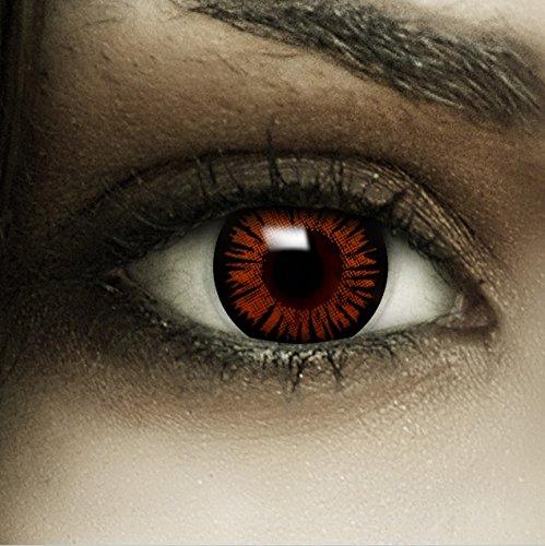 Farbige braune Kontaktlinsen Twilight + Kunstblut Kapseln + Behälter von FXCONTACTS®, weich, ohne Stärke als 2er Pack - perfekt zu Halloween, Karneval, Fasching oder Fasnacht (Bella Cullen Kostüm)