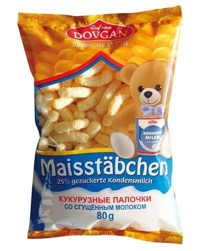 Süße Maisstäbchen mit Kondensmilch, 1 KARTON mit 24 Packungen je 80 g