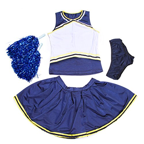 Athletic Design von selbst Custom Eisen auf Transfer-Logo blanko vorne Cheerleading Uniform/Squad Cheerleader Kostüm Outfit W/Slip N Zeitgemäß blau + gelb Gr. Medium, Blau - Blue+Yellow