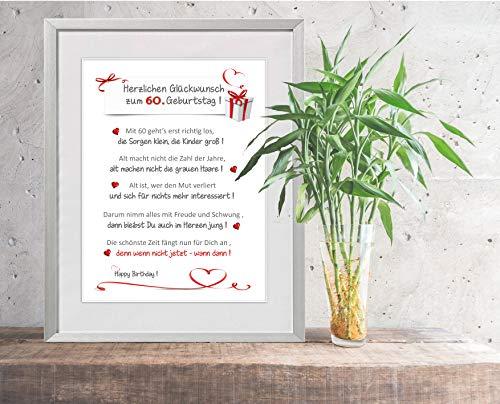 """""""Herzlichen Glückwunsch zum 60. Geburtstag"""" - liebevoll gestalteter Kunstdruck als Geschenk zum Geburtstag - personalisierbar - 24 x 30 cm mit Passepartout - ohne Rahmen"""