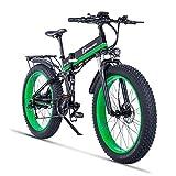 1000W ebike Fat Tire Vélo Électrique Pliant Vélo De Montagne 26 'Suspension Complète 48V12AH 21 Vitesses Pédale Assist (Vert)