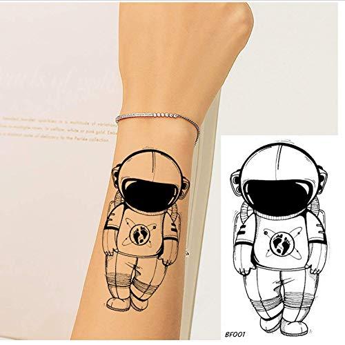 ruofengpuzi Frauen Sexy Kleine Tätowierung Temporäre Schwarze Astronaut Gefälschte Kind Cartoon Tattoo Aufkleber Männer Arm wasserdichte Tattoo Supplies DIY