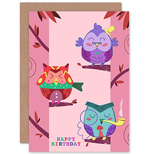 Wee Blue Coo LTD Kawaii Owls Trees Happy Birthday Greeting Card with Envelope Blank Inside Premium Quality