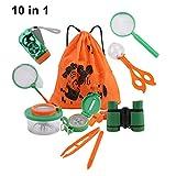 DesignerBox 10 Pack Outdoor Explorer Kit, Kids Adventurer Exploration Equipment Set with Binoculars, Flashlight, Compass, Magnifying Glass, Bug Collector, Bug Catcher for Hunting & Bird Watching