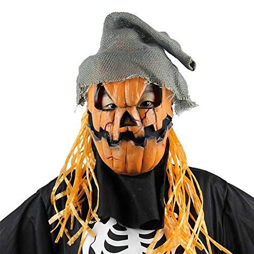 Kürbis Vogelscheuche Kopf Maske Hut Neuheit beängstigend Latex Kostüm Latex Maskerade Halloween Maske Party Dekoration Requisiten (Kürbisse Für Beängstigend Halloween-gesichter)