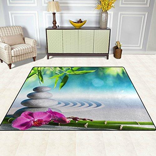 S&Y Teppiche Teppich Matte 5'x7', japanische Zen Bambus Blüte Polyester rutschfeste Wohnzimmer Esszimmer Schlafzimmer Teppich Eingang Fußmatte Home Decor (Schwamm Bambus-blüte)