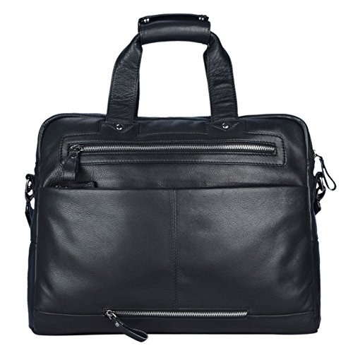 STILORD 'Patrice' Große Leder Umhängetasche Herren Vintage Schultertasche für DIN A4 Ordner Businesstasche mit 15.6 Zoll Laptopfach Trolley aufsteckbar, Farbe:schwarz schwarz