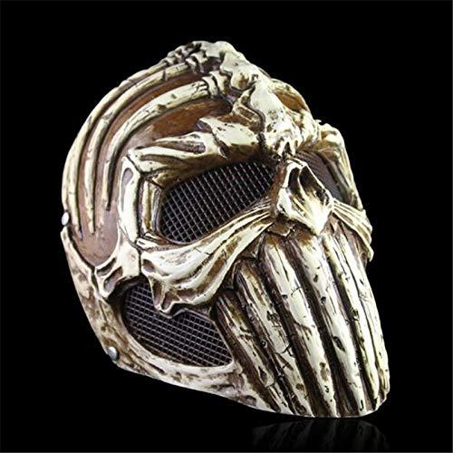 VAWAA Dämon Schutzhelm Harz Maske Horror Realistische Ghost Rider Beängstigend Skelett Masken Halloween Maskerade Cosplay Kostüm Requisiten (Ghost Rider Kostüm Für Kind)