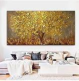 Orlco Art - Dipinto a mano con petali di ciliegio blu e albero blu, grande, arte astratta da parete, tavolozza per pittura a olio su tela, Tela, Gold Tree, 24x48inch (60x120cm) With The Frame