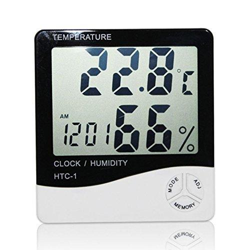 LHGS Digital Thermometer LCD Hygrometer Luftfeuchtigkeit Temperatur Messgerät Uhr Alarm -