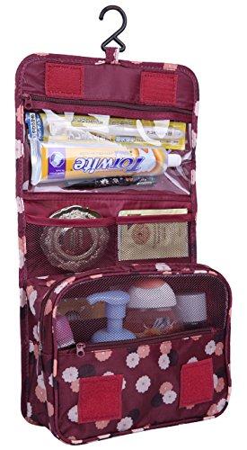 Discoball Trousse de toilette et maquillage de voyage, portable et pliable, trousse de rangement mixte à crochet rouge vin taille unique