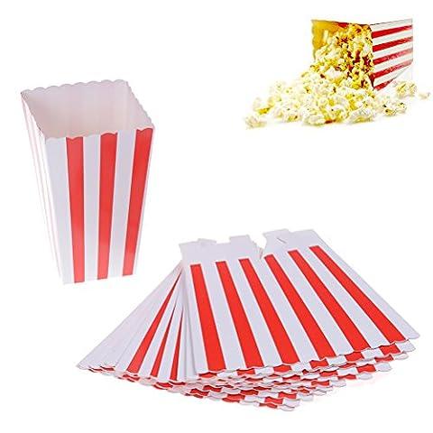cinéma Petit Popcorn Boîtes papier Popcorn Boîtes à rayures Rouge et blanc Popcorn conteneurs de support pour salle de cinéma de fête,