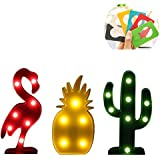 Woolala Stylish Red Flamingo Style Lamp LED Battery-Powered Light Hot Style for Home or Party Decor, Bedroom, Children, Flamingo, Cactus and Pineapple