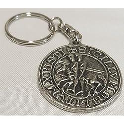 NWGifts Llavero de peltre inglés hecho a mano con sello templario masónico en bolsa de regalo