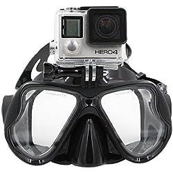 Telesin Masque de plongée avec support compatible avec GoPro Hero3, 3+ et 4/4Session, noir