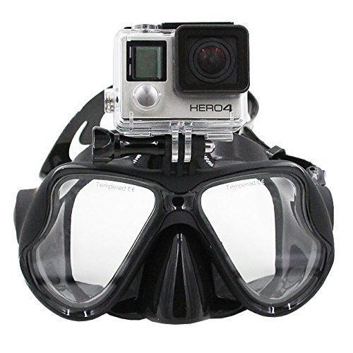 TELESIN Dive Tauchen Maske W/Halterung Kompatibel mit GoPro Hero3, 3+ und 4/4Session, Schwimmen Maske für Schnorchel/Schnorcheln Go, schwarz